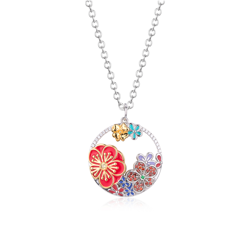 Colorful Flower CZ Rhinestones Pendant 18K White Gold Plated Chain Necklace